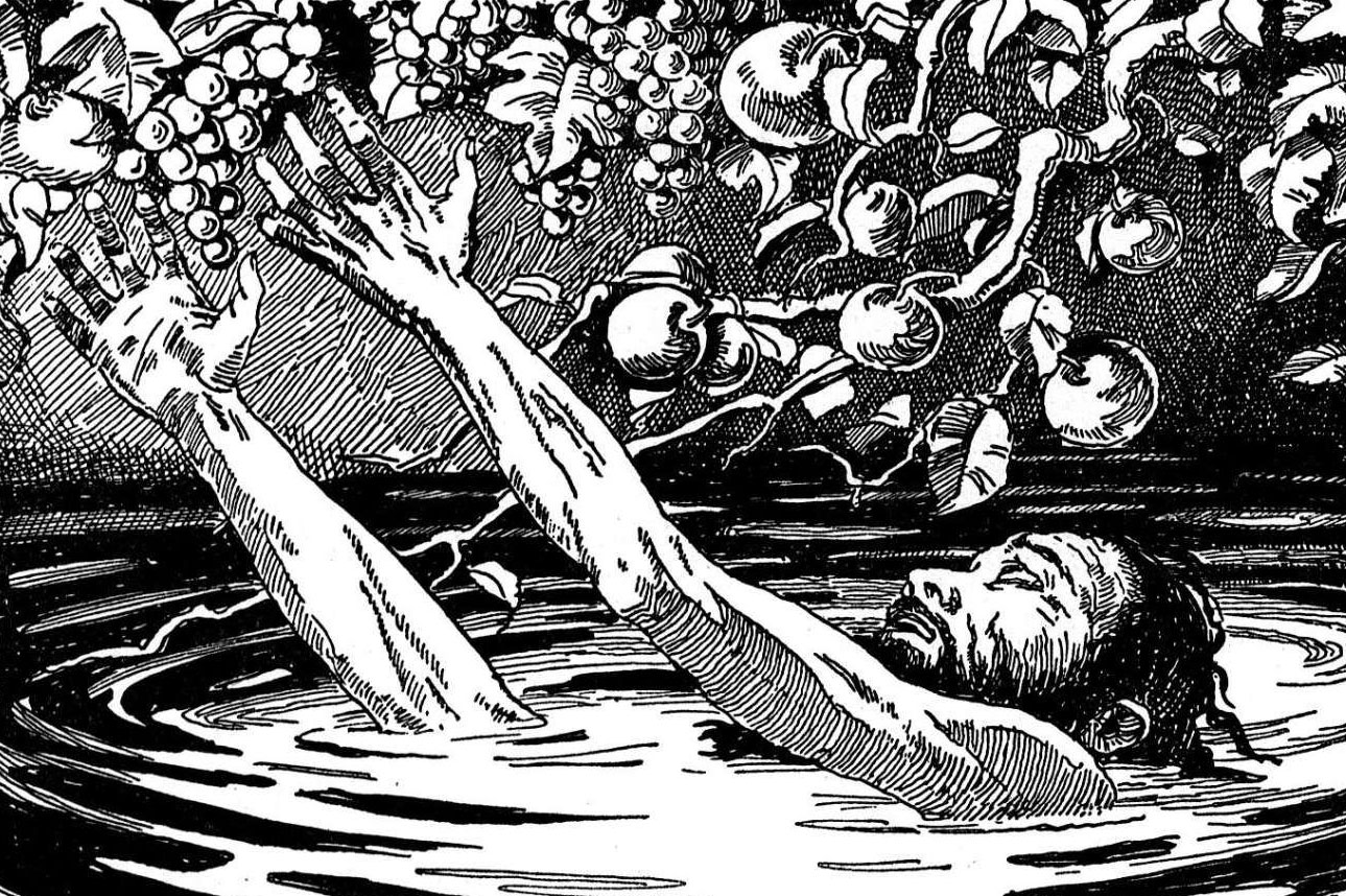 A black and white drawing of Tantalus, neck-deep in water, fruitlessly reaching.